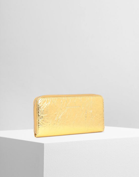 MM6 MAISON MARGIELA Crinkled leather zip long wallet Wallets [*** pickupInStoreShipping_info ***] r