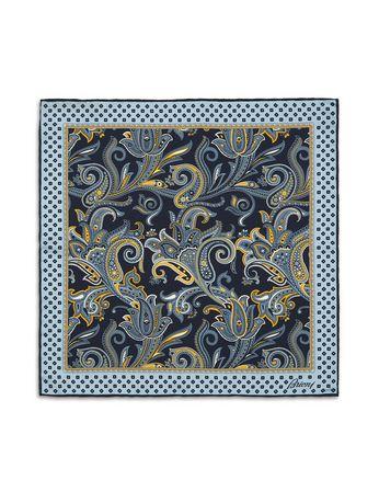 蓝色涡纹图案口袋方巾