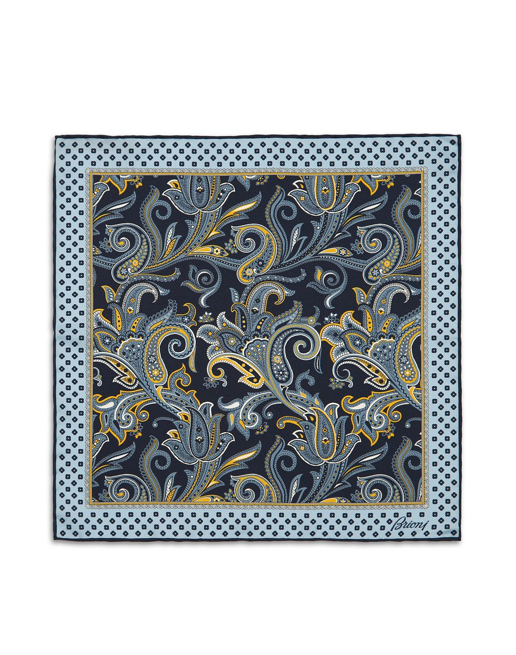 BRIONI Blue Paisley Pocket Square Pochette [*** pickupInStoreShippingNotGuaranteed_info ***] f