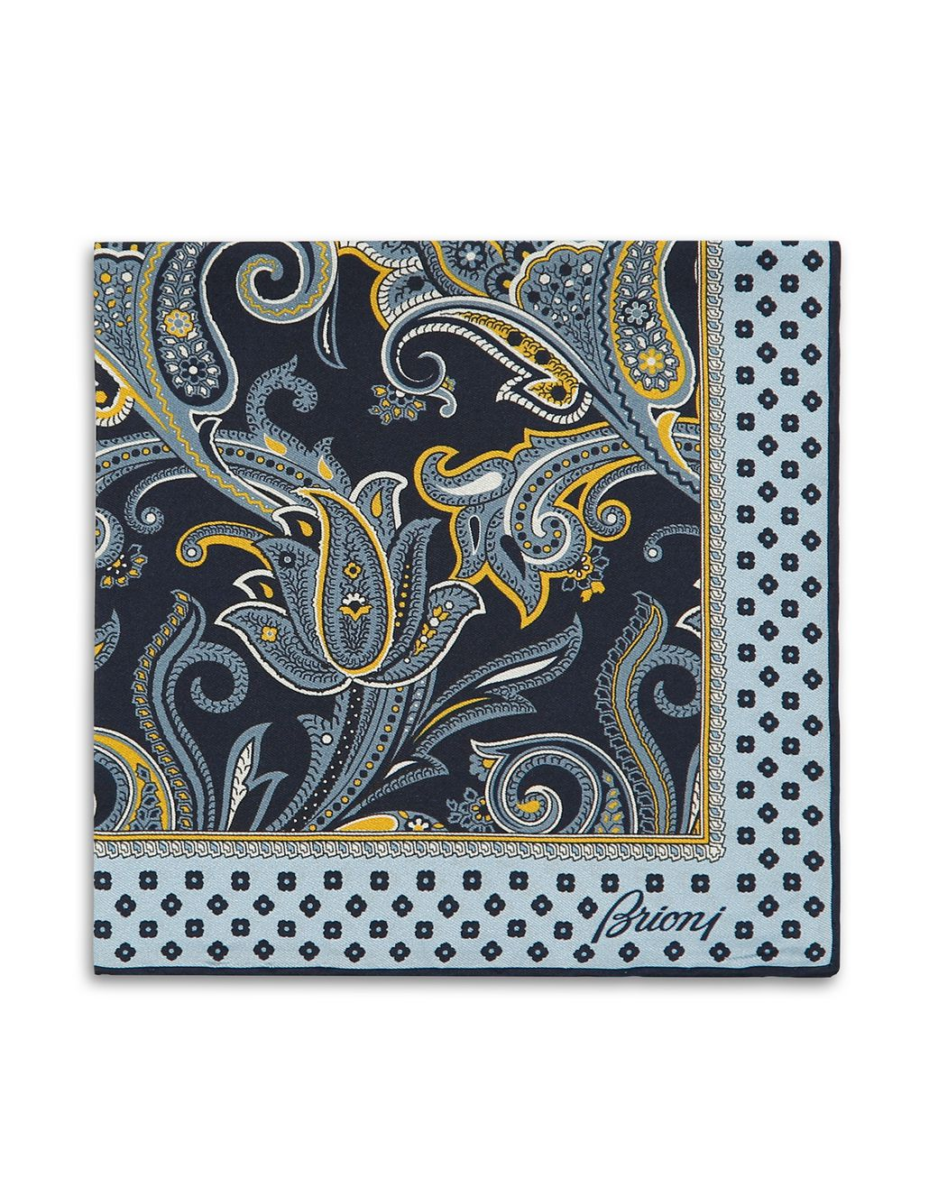 BRIONI Blue Paisley Pocket Square Pocket Square [*** pickupInStoreShippingNotGuaranteed_info ***] r