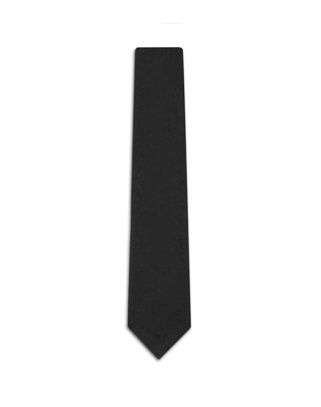 BRIONI Navy Blue Herringbone Tie Tie Man f