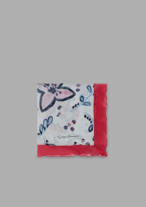 Палантин из чистого шелка с цветочным узором