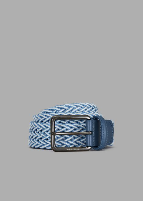 Woven elastic belt with leather details