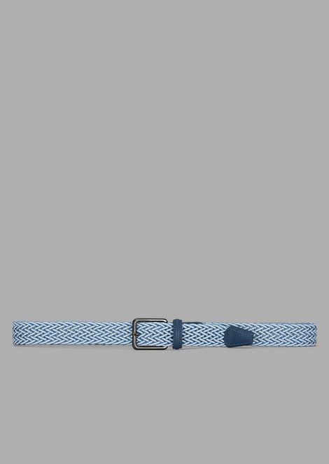 Cintura in nastro elastico intrecciato con dettagli in pelle