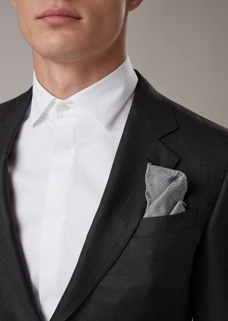 Pure silk pocket square with geometric pattern