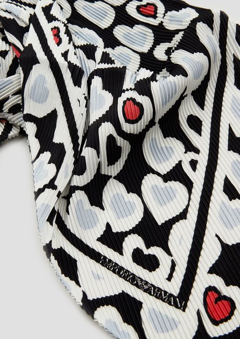 Pure silk scarf with heart pattern