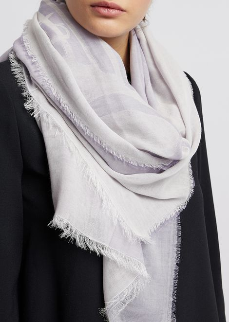 Stole in light fabric with all-over contrast logo