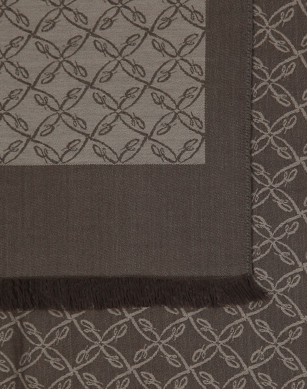 BRIONI Grey Logo Pattern Scarf Foulards & Scarves Man d
