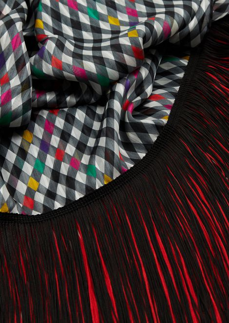 Silk checked headscarf with contrast fringing