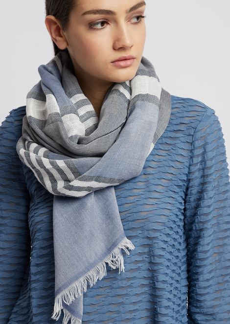 Stole in striped cotton and linen