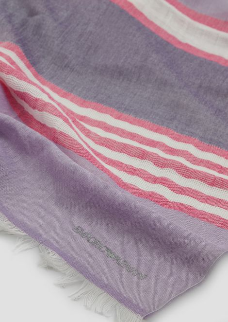Stole in striped cotton and linen with frayed profiles