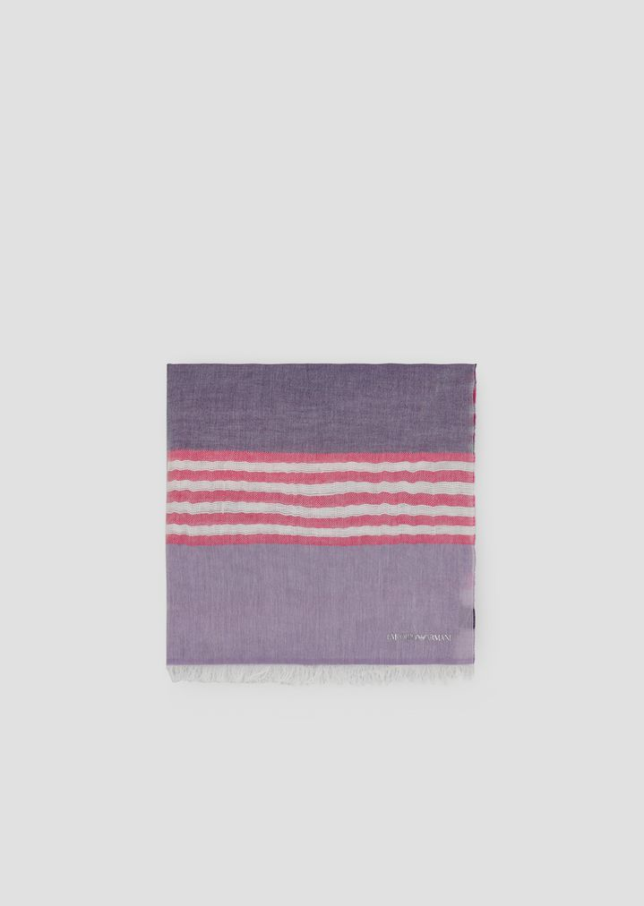 8c8c0c03b0 Stole in striped cotton and linen with frayed profiles