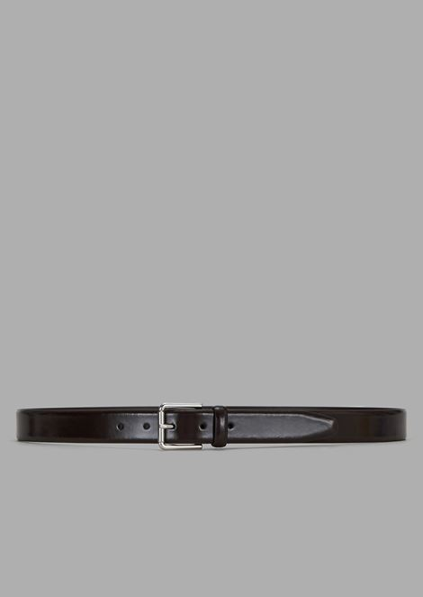 Leather belt in brushed calfskin