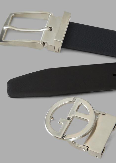 Geschenk-Set, bestehend aus einem Wendegürtel aus Leder mit zwei austauschbaren Schnallen