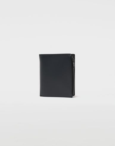 Large fold-out leather zipped wallet