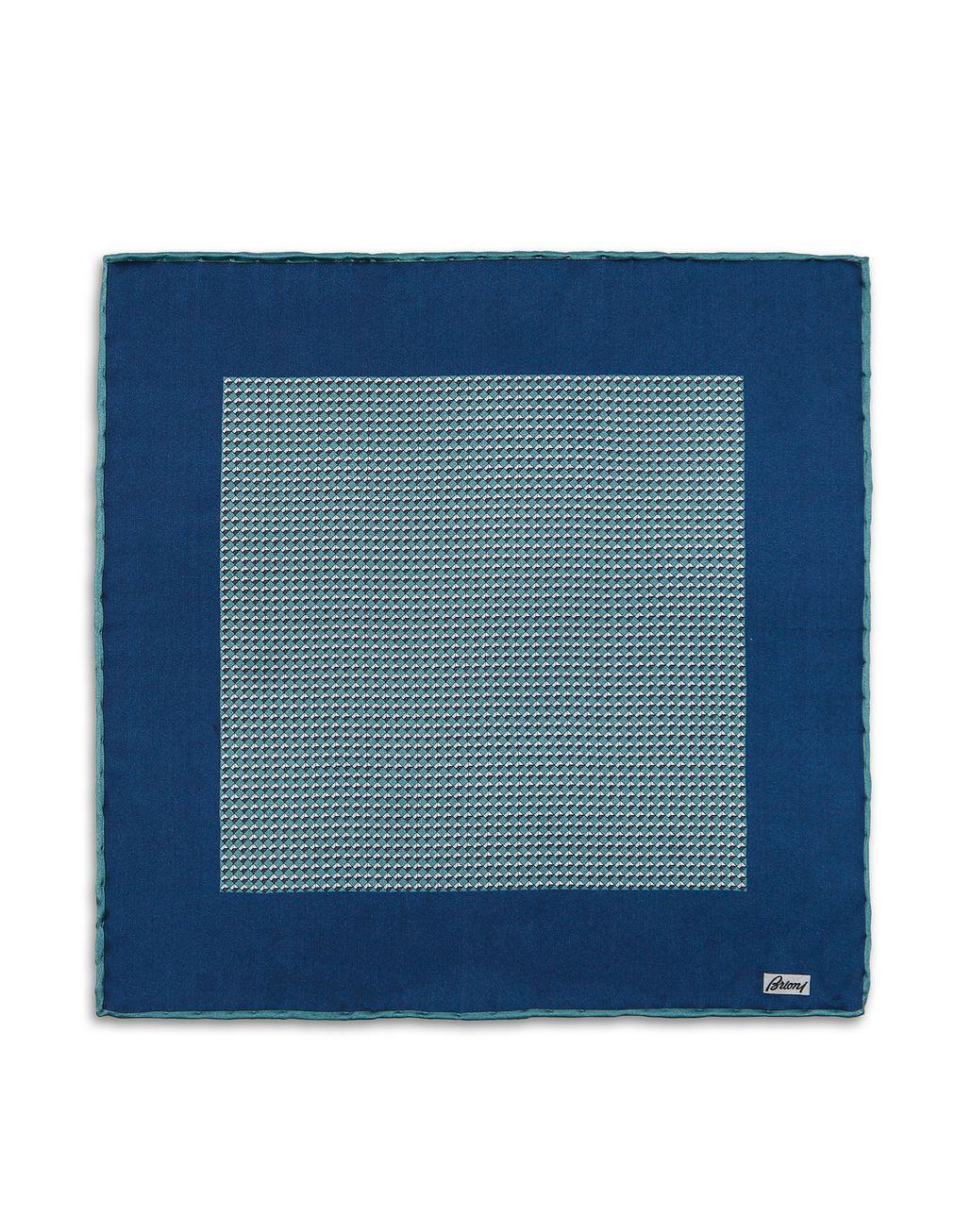 BRIONI Бирюзовый платок-паше с микроузором Галстуки и карманные платки Для Мужчин f