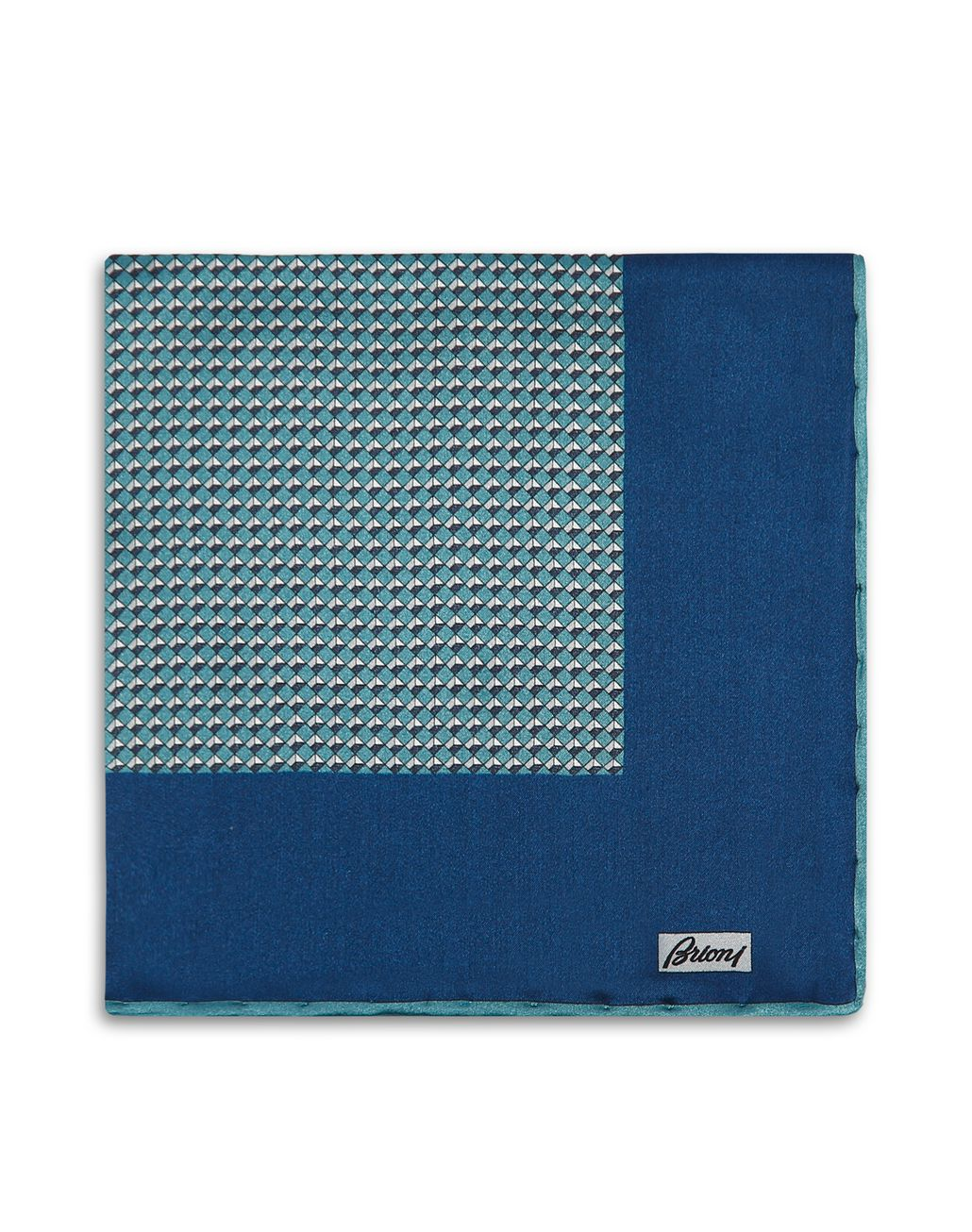 BRIONI Teal Micro Design Pocket Square Tie & Pocket Square Man r