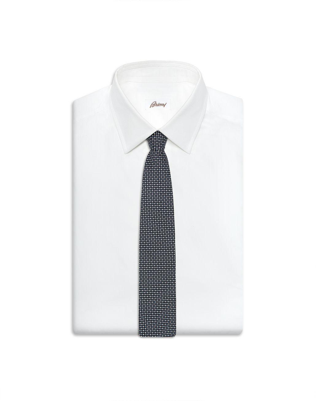 BRIONI Navy Blue Dotted Tie Set Tie & Pocket Square Man e