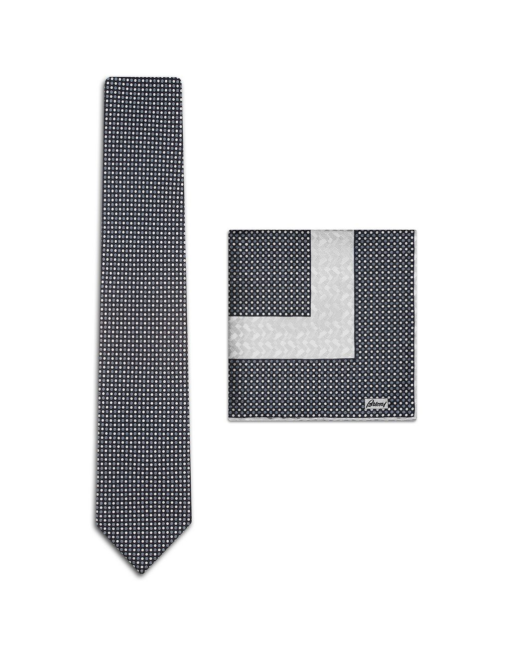 BRIONI Navy Blue Dotted Tie Set Tie & Pocket Square Man f