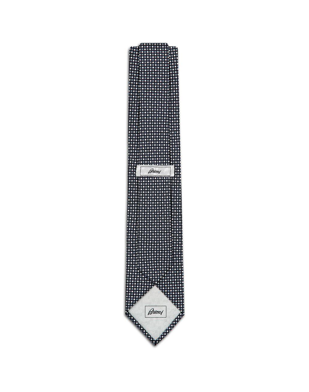 BRIONI Navy Blue Dotted Tie Set Tie & Pocket Square Man r