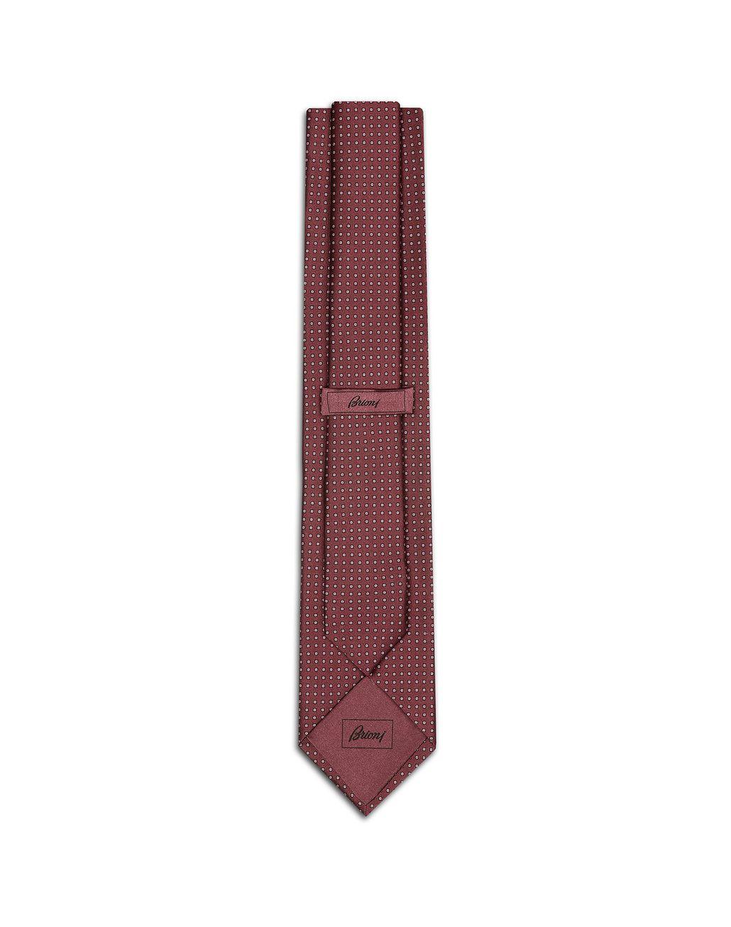 BRIONI Burgundy Micro Design Tie Tie Man r