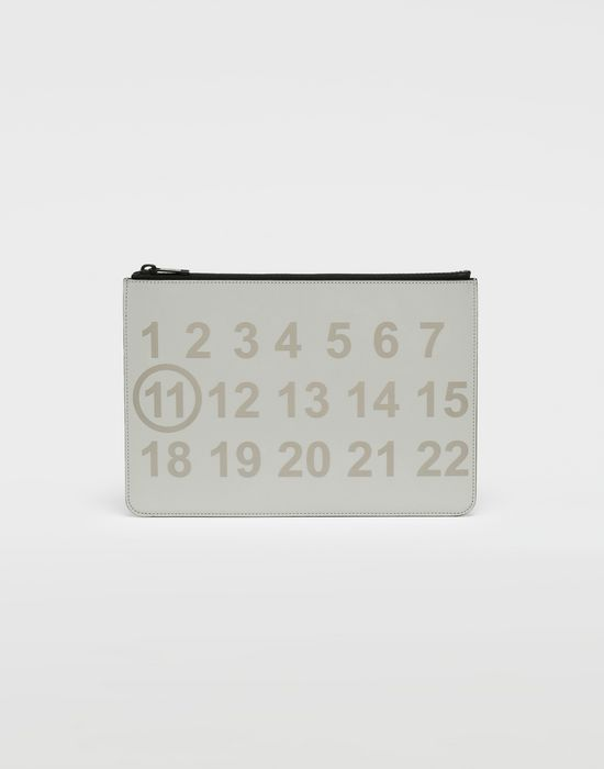 MAISON MARGIELA Silver logo-embellished leather clutch Wallet [*** pickupInStoreShippingNotGuaranteed_info ***] f