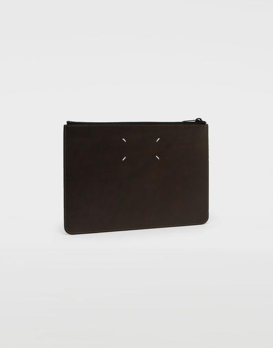 MAISON MARGIELA Silver logo-embellished leather clutch Wallet [*** pickupInStoreShippingNotGuaranteed_info ***] r