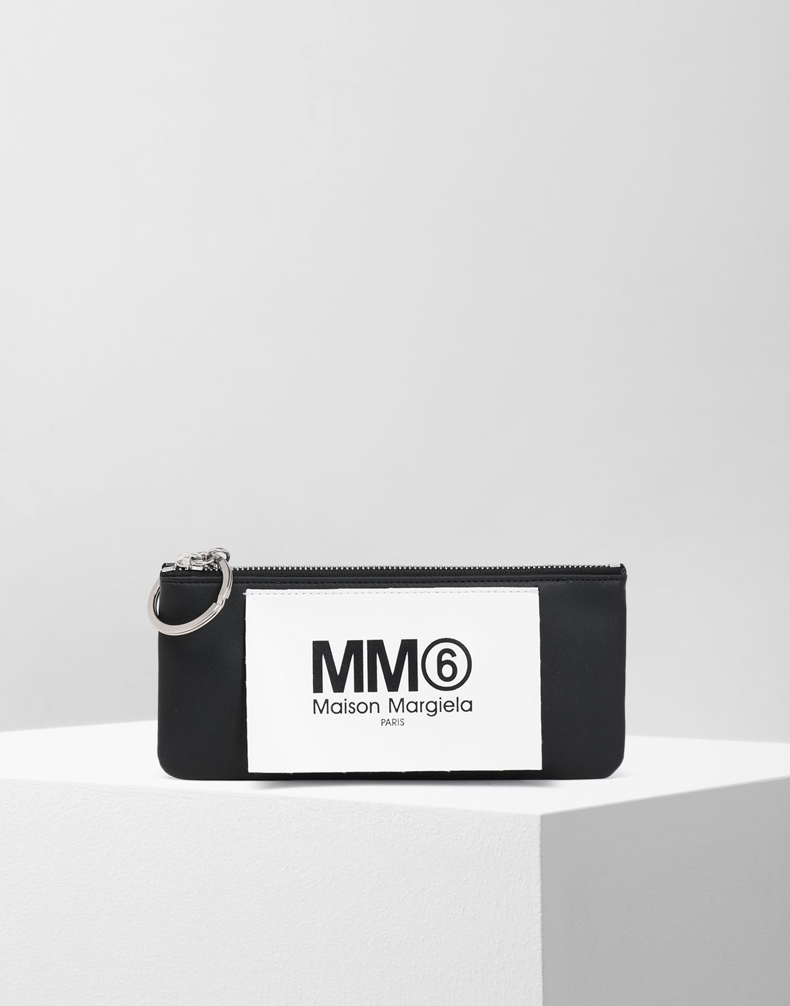 MM6 MAISON MARGIELA Logo tab zip leather pochette Wallets Woman f