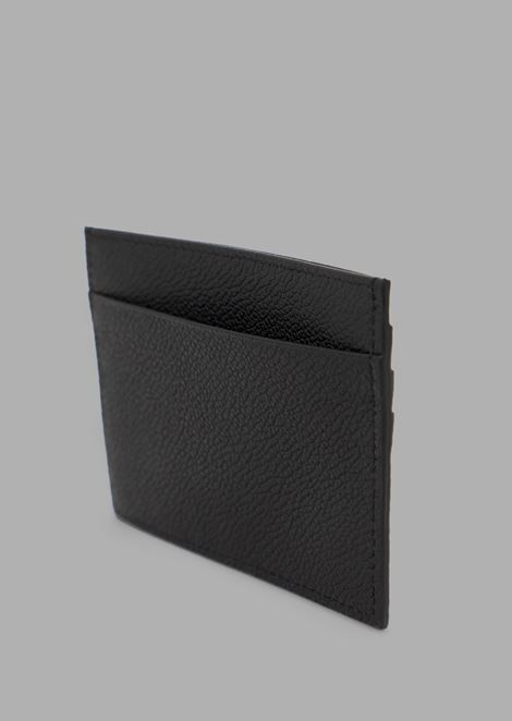 Card holder in full grain leather with colored chevron print