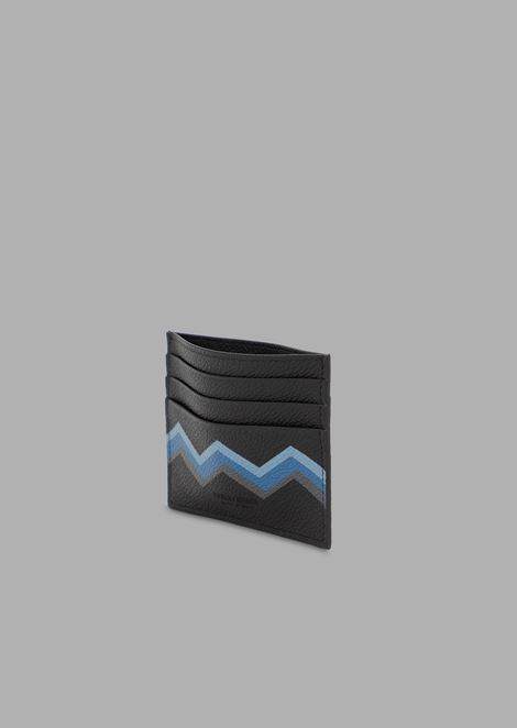 Card holder in full grain leather with coloured chevron print