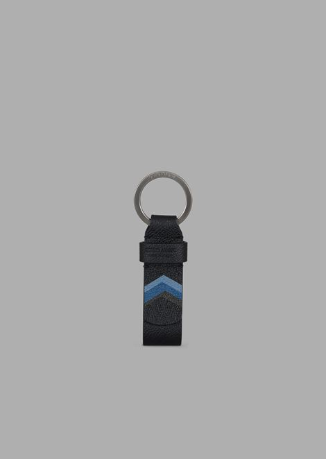 Key ring in full grain leather with colored chevron print
