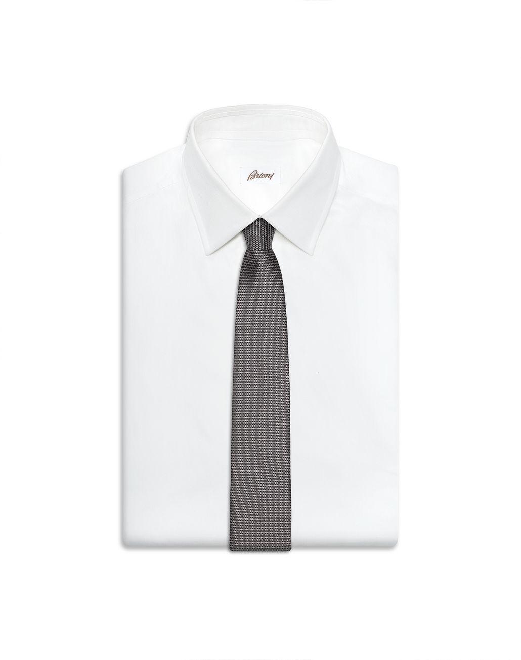 BRIONI Grey Micro Design Tie Tie Man e