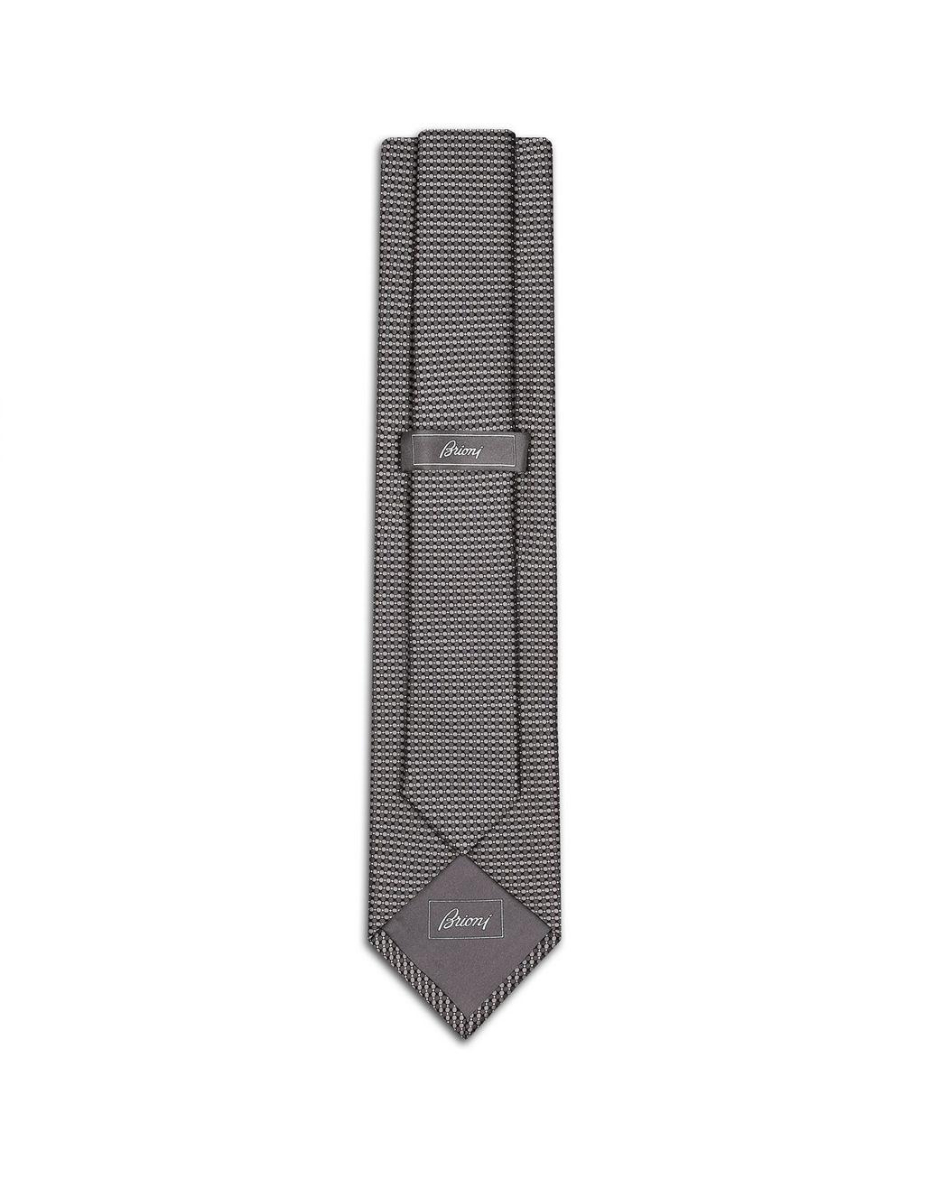 BRIONI Grey Micro Design Tie Tie Man r