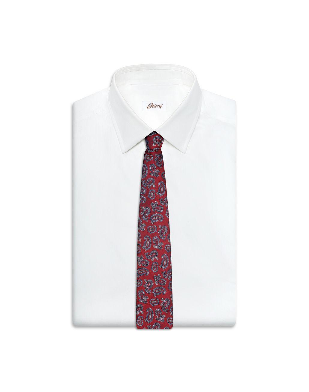 BRIONI Bordeaux Paisley Tie Tie Man e