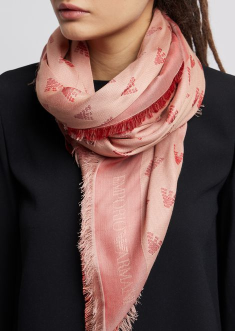 Fabric scarf with all-over jacquard logo
