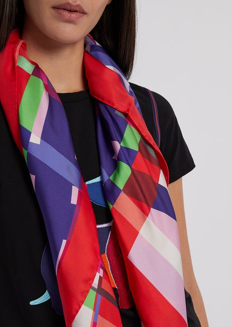 Silk scarf with abstract pattern