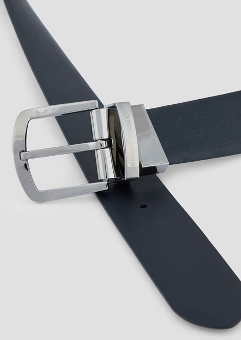 Smooth leather belt with all-over print