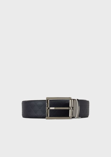Reversible leather belt with all-over branded logo