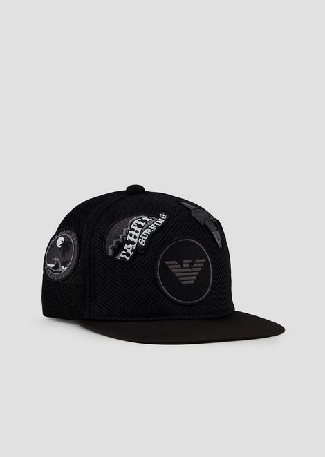 Straight-peaked baseball cap with patch appliqués