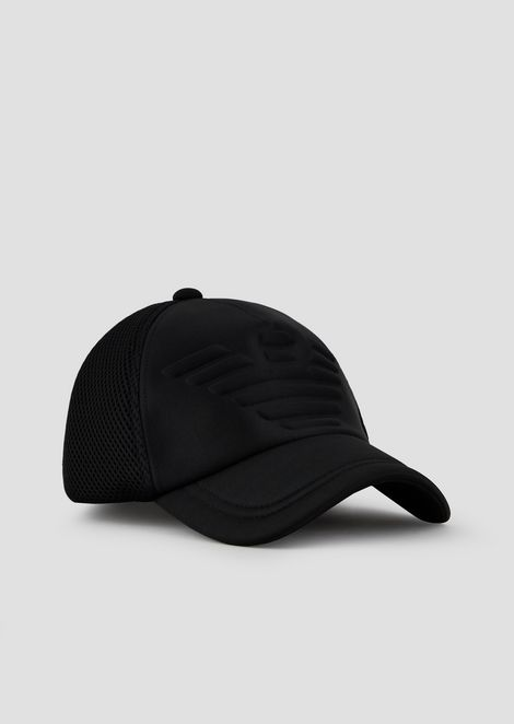 Baseball cap with embossed logo and mesh back