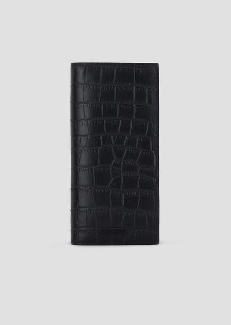 Crocodile-print leather vertical wallet