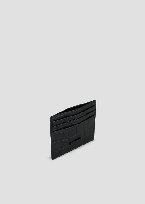 Card holder in crocodile-print leather