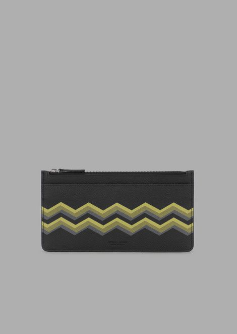 Pouch-style organizer in grained leather with colored chevron print