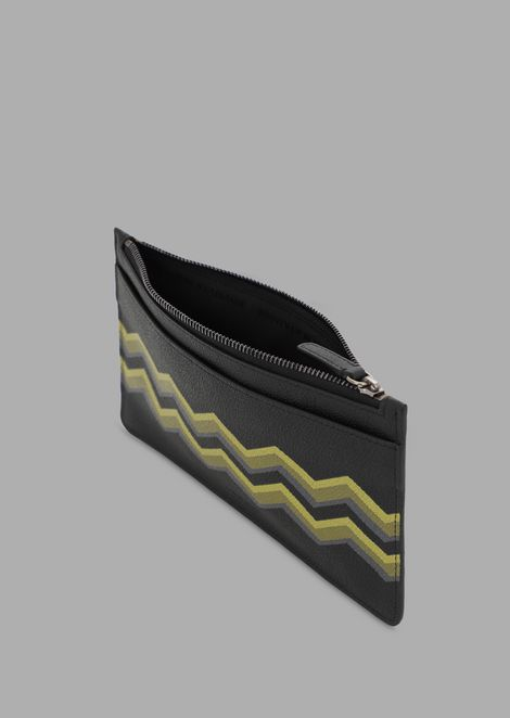 Pouch-style organiser in grained leather with coloured chevron print