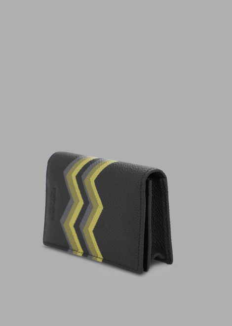 Key ring in grained leather with colored chevron print
