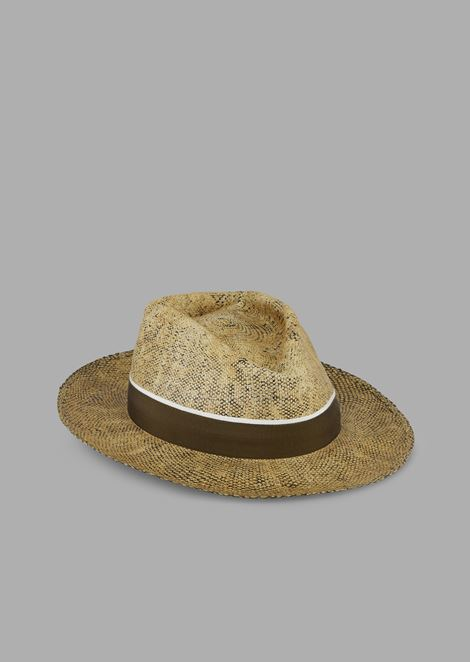 Papier fedora hat in paper material with canvas ribbon