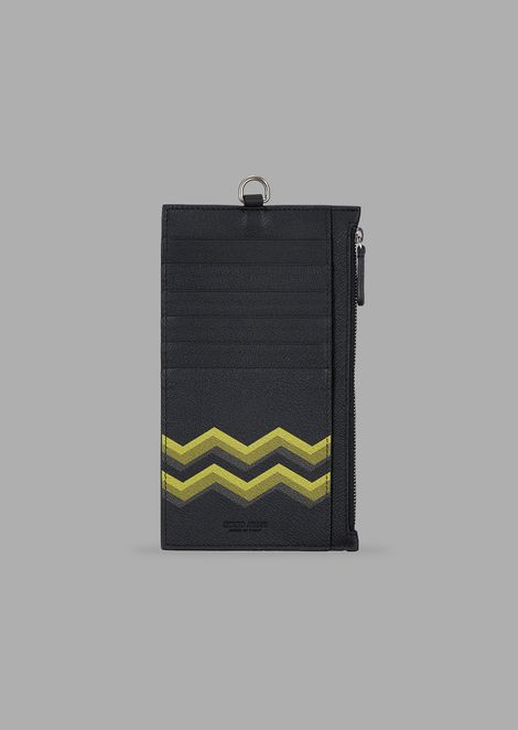 Card holder with wristlet in leather and coloured chevron print