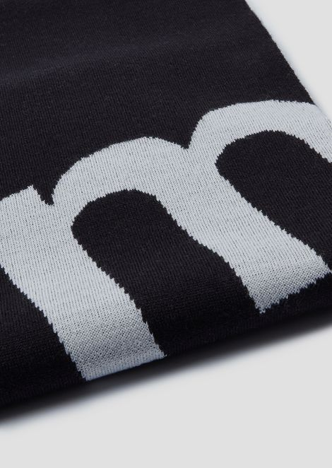 Jacquard jersey scarf with contrast logo