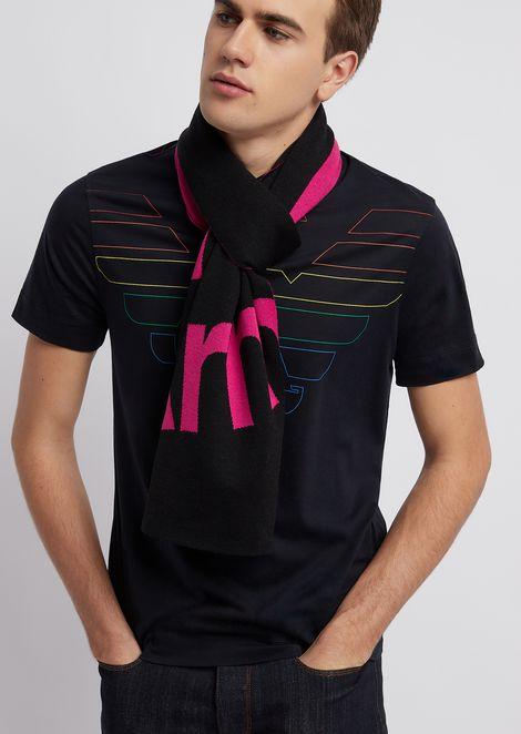 Sciarpa in maglia jacquard con logo a contrasto