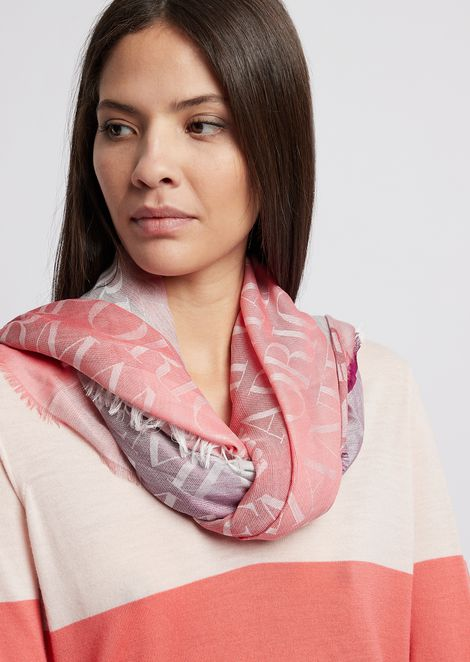 Fabric scarf with all-over logo